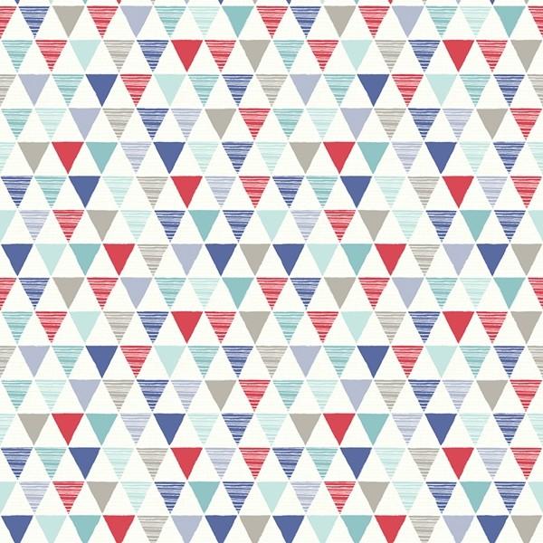 Papel de Parede FUN2 geométrico triângulos azul vermelho