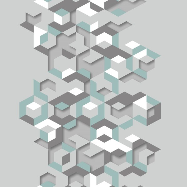 Papel de Parede Hexagone L57711 Geométrico Cinza Claro