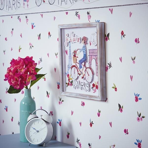 Papel de Parede Infantil FUN2 menina Paris flores glitter