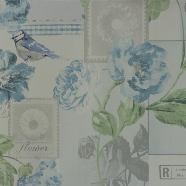 Papel de Parede Importado English Florals S45203 Vintage Azul