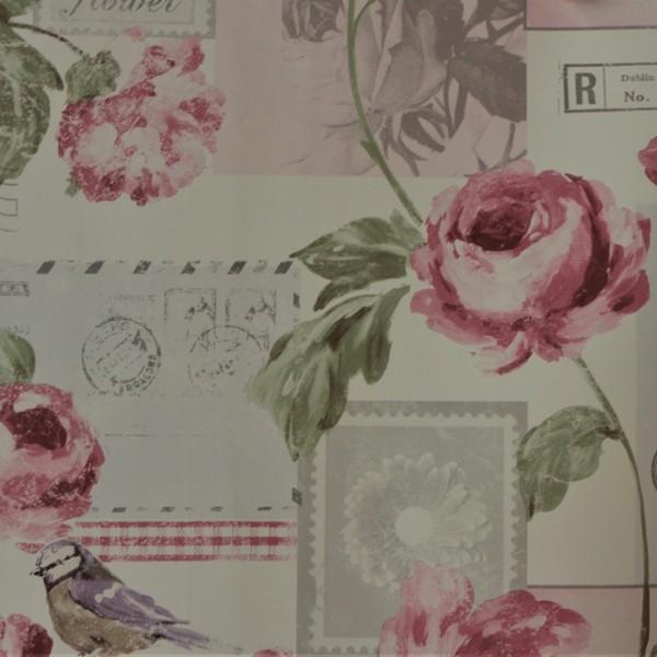 Papel de Parede Importado English Florals S45205 Vintage Rosa