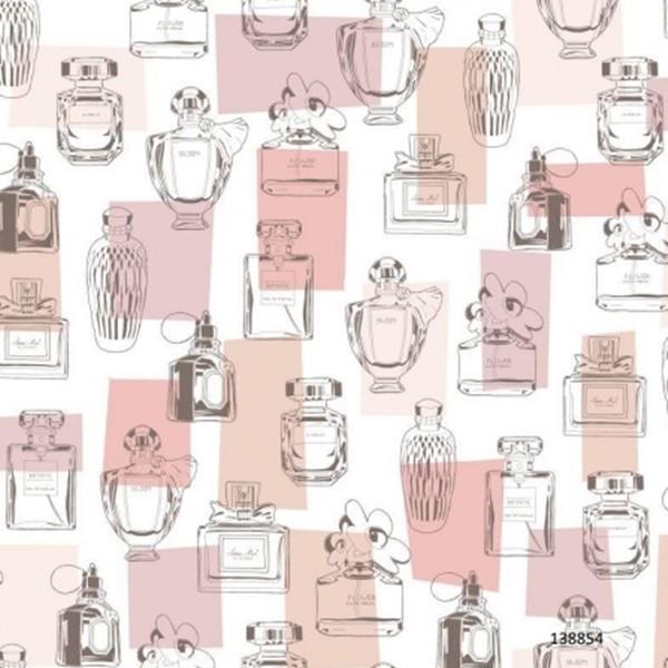 Papel de Parede Infantil coleção Paris vidros de perfume