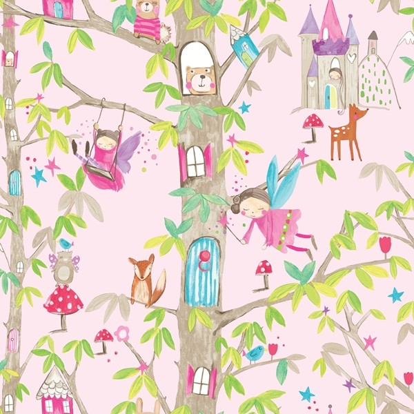 Papel de Parede Infantil FUN1 menina fadas floresta rosa glitter