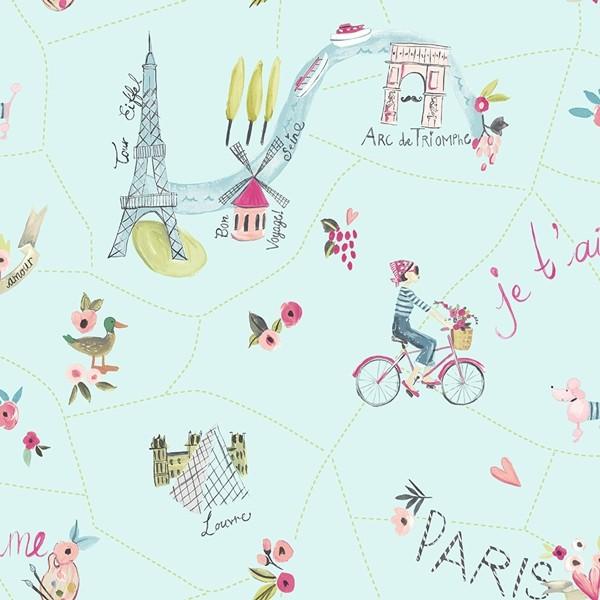 Papel de Parede Infantil FUN2 quarto menina Paris