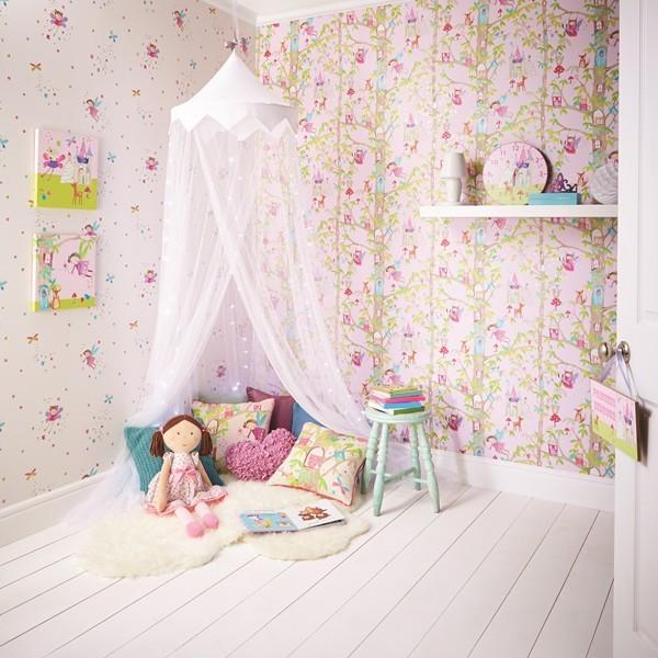 Papel de Parede Infantil FUN1 menina fadas floresta com glitter