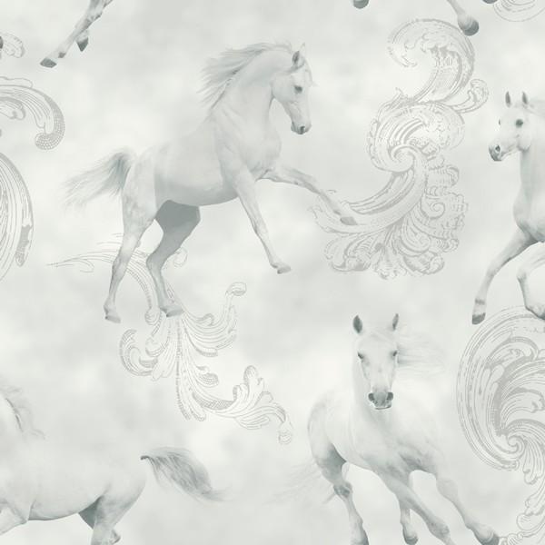 Papel de Parede quarto cavalos brancos