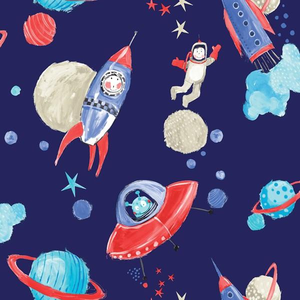 Papel de Parede Infantil quarto menino astronauta colorido com glitter
