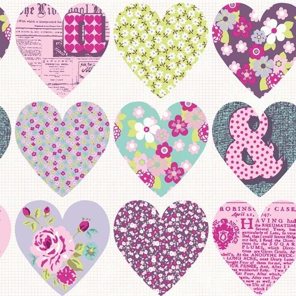 Papel de Parede FUN1menina corações patchwork