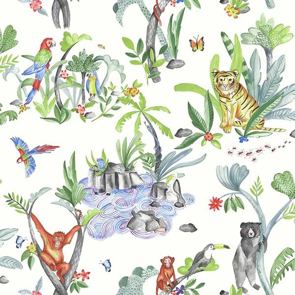 Papel de Parede Infantil quarto bebê Safari animais Selva leão macaco