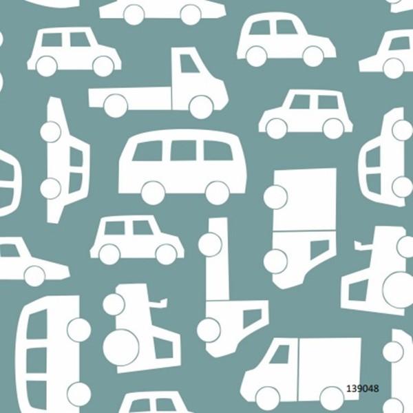 Papel de Parede Infantil LETS P quarto bebê transportes carrinhos azul