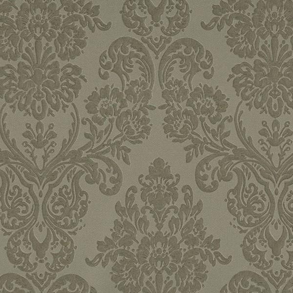 Papel de Parede quarto sala Adamascado relevo tipo tecido bordado nude