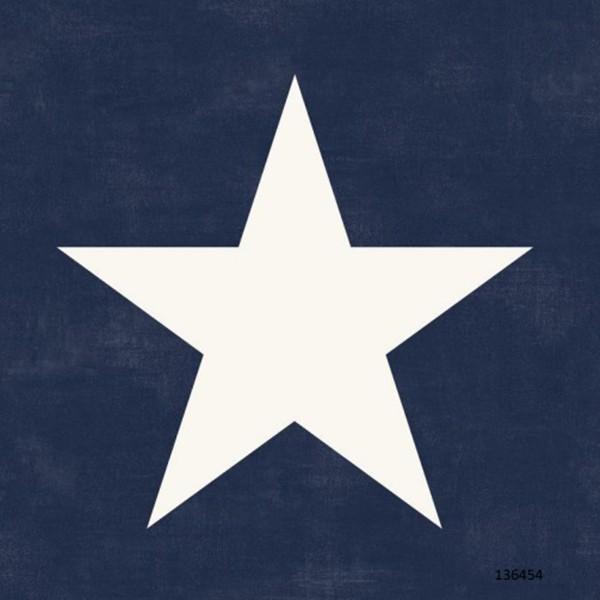 Papel de Parede quarto infantil  Estrela grande azul marinho branco