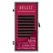 Cílios Postiços para Alongamento Mink C 0,15 12mm Belliz