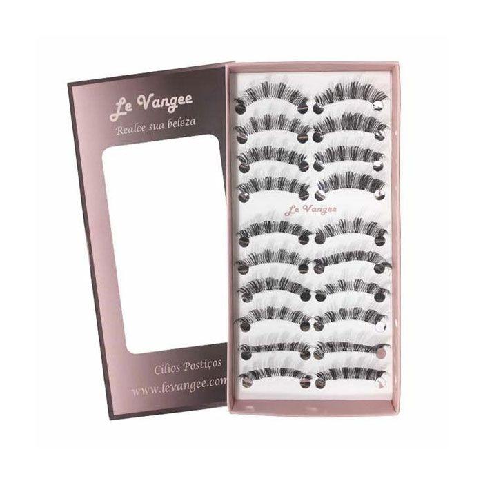 Caixa 10 Pares Cílios Postiços 54018 E2 Le Vangee