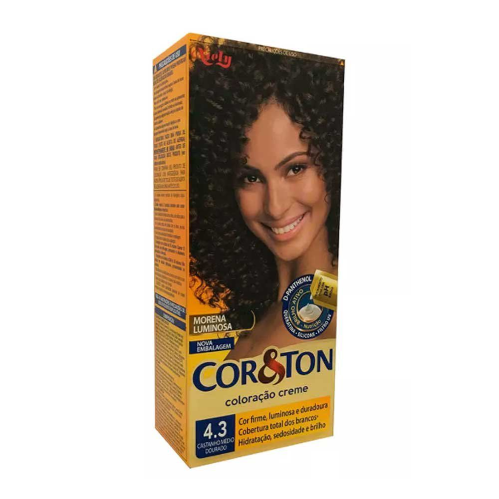 Coloração Creme Castanho Médio Dourado 4.3 Cor&Ton