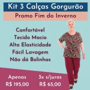 Kit 3 Calças Malha Gorgurão Senhoras ( Cores Sortidas )