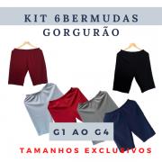 Kit 6 Bermudas Feminina Gorgurão (Cores Sortidas)