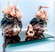 Kit Lavabo Transversal Gold, Saboneteira, Difusor, Bandeja Bronze 22 x 12 cm e Enfeite Exclusivo em Cerâmica