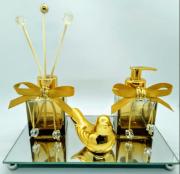 Kit Lavabo Transversal Ouro, Bandeja Bronze 22 x 12 cm, Saboneteira, Difusor e Enfeite em Cerâmica