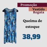 Vestido Feminino Liganete Estampado Plus Size Regata