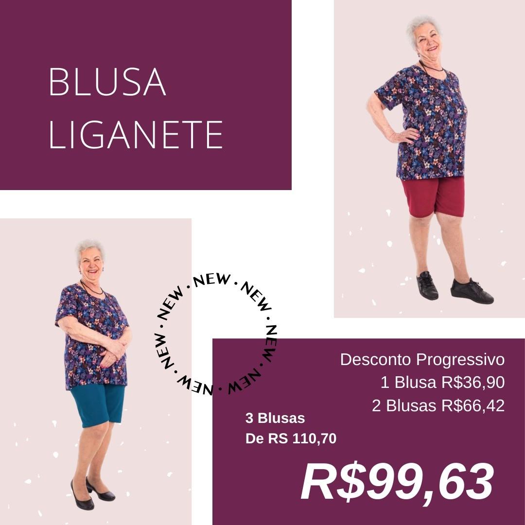 Kit 3 Blusas Liganete Moda Senhoras