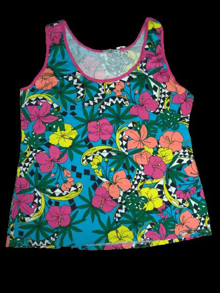 Blusa Regata em Viscose Plus Size Floral