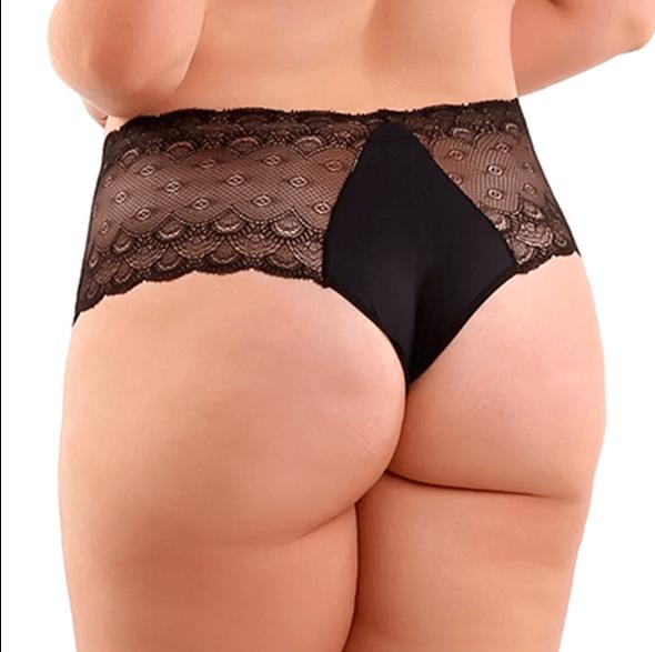Calcinha Plus Size em Poliamida e Renda