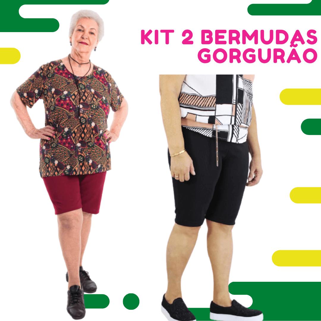 Kit 2 Bermudas Gorgurão Senhoras (Cores Sortidas)