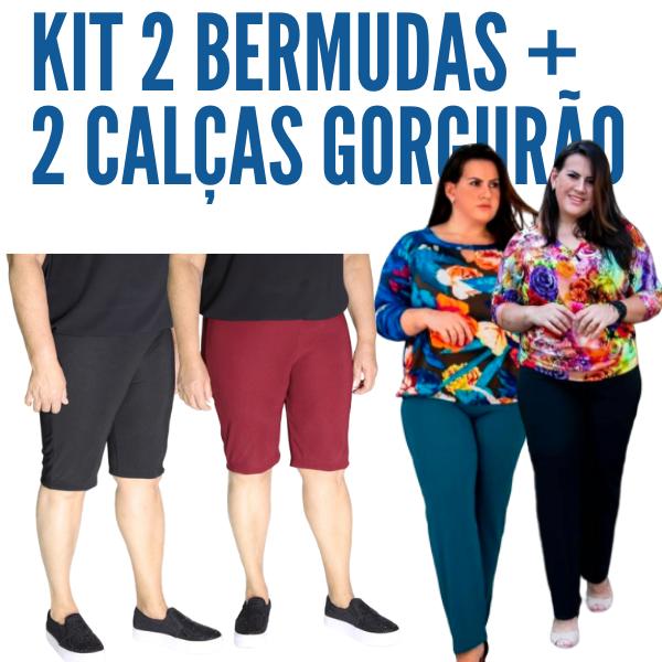 Kit 2 Calças Malha Gorgurão + 2 Bermudas Gorgurão (Cores Sortidas)