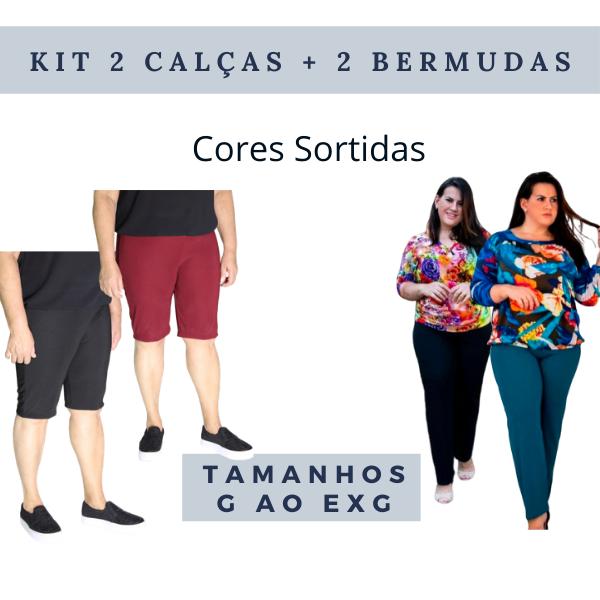 Kit 2 Calças Malha Gorgurão e 2 Bermudas Gorgurão (Cores Sortidas)