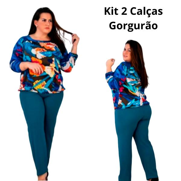 Kit 2 Calças Malha Gorgurão Senhoras ( Cores Sortidas )