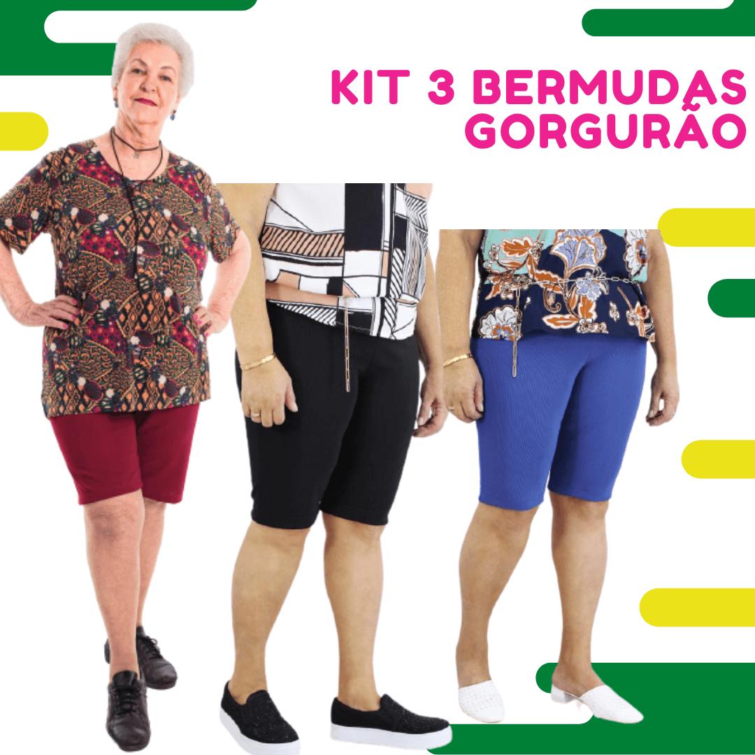 Kit 3 Bermudas Gorgurão Senhoras (Cores Sortidas)