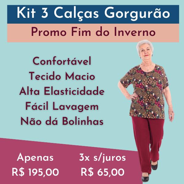 Kit 3 Calças Malha Gorgurão Senhoras