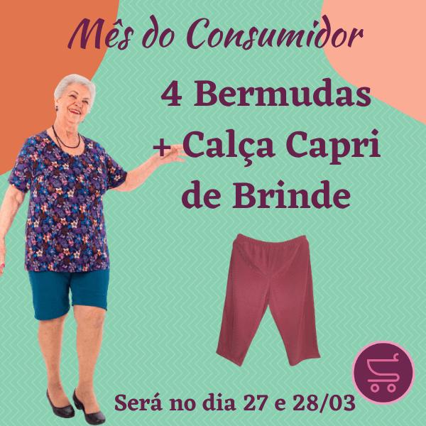 Kit 4 Bermudas Gorgurão + Brinde Calça CAPRI (Cores Sortidas)
