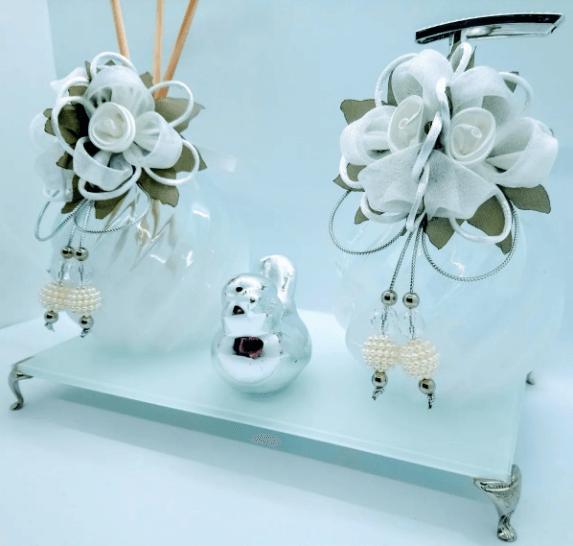 Kit Lavabo Transversal White Degradê Prata Luxo, Difusor de Ambiente, Saboneteira, Bandeja 22 x 12 cm, 1 Enfeite em Cerâmica