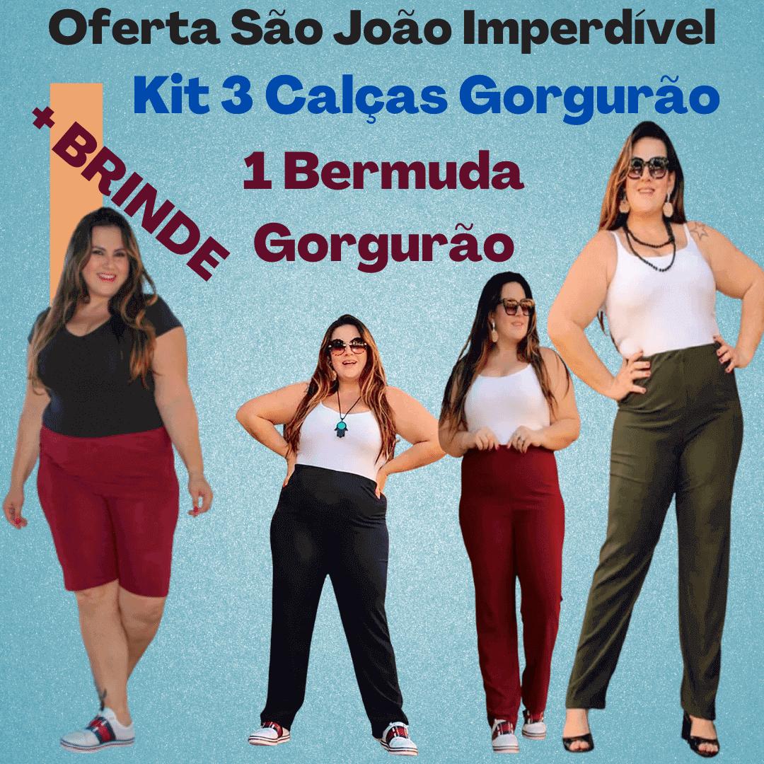 Oferta São João - Kit 3 Calças Malha Gorgurão + Brinde 1 Bermuda Gorgurão (Cores Sortidas)