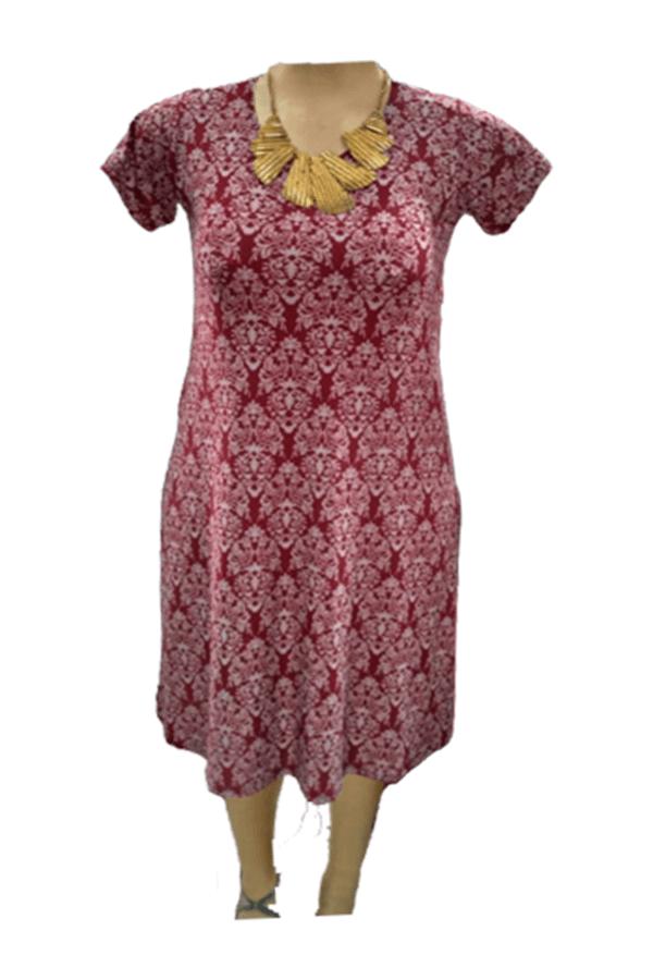 Vestido Feminino Liganete Estampado Plus Size Manga Curta