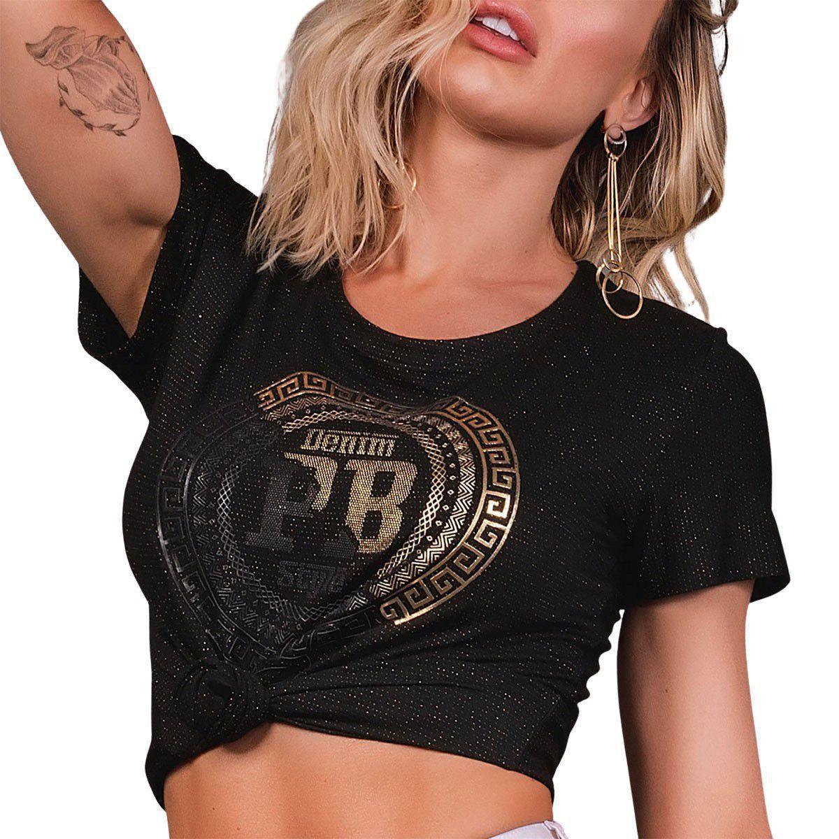 Blusa Cropped Tshirt Black & Gold