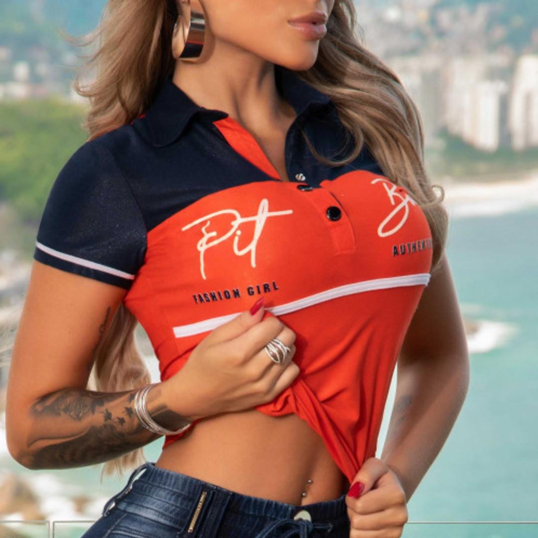 Blusa Pit Bull 35554 Polo Esportiva C/bot Laranja