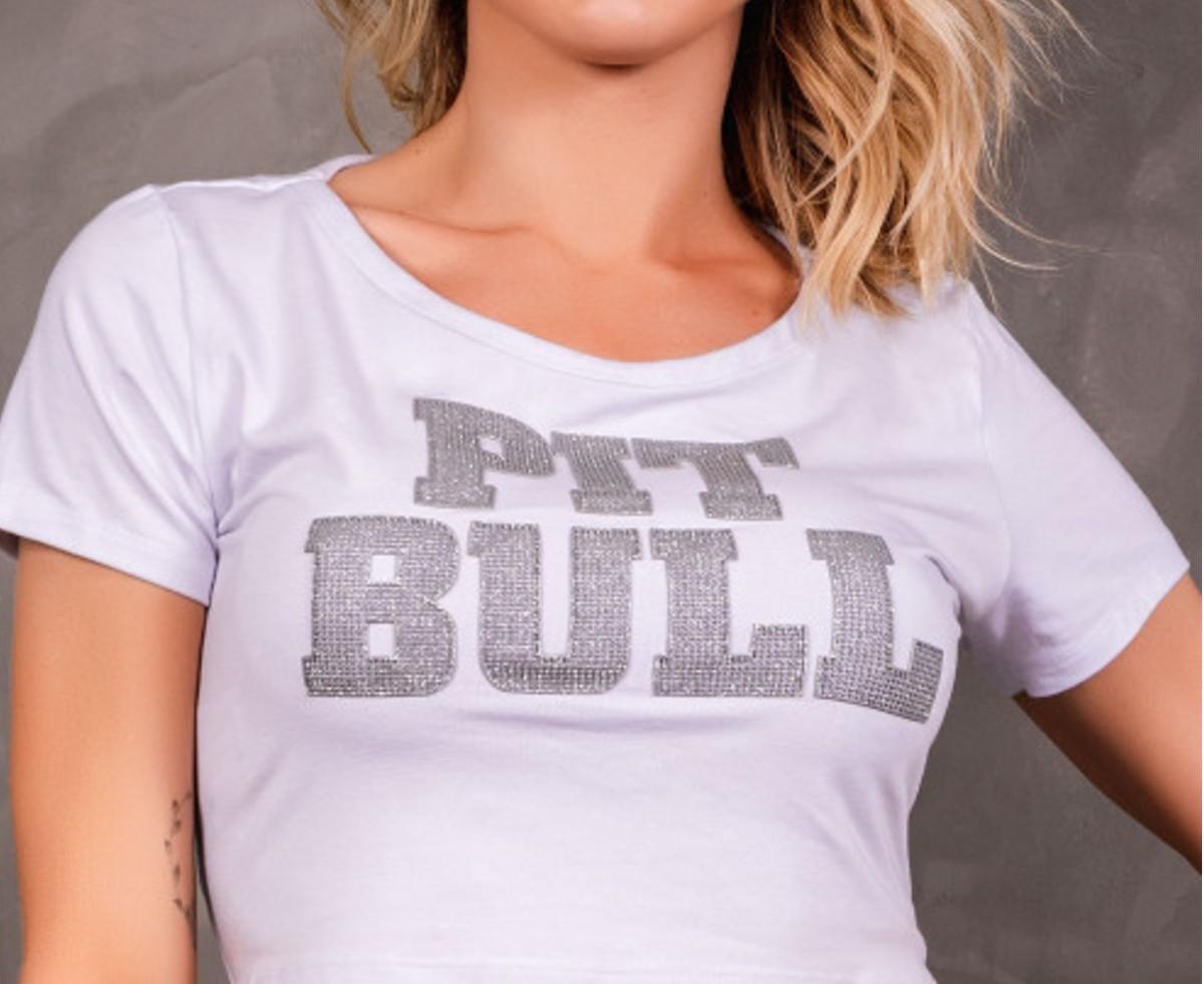 Blusa Pit Bull Cropped Aplic Glitter Original NV Coleção