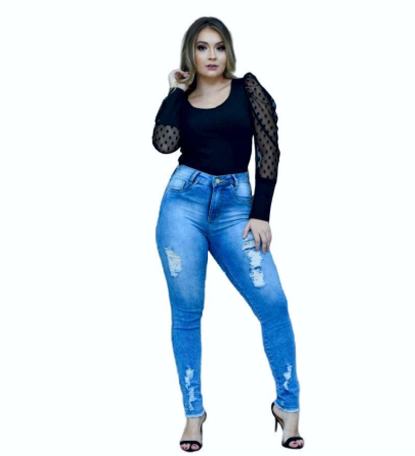 Calça Jeans Julie Azul Cintura Alta Modela Bumbum Desf Barra