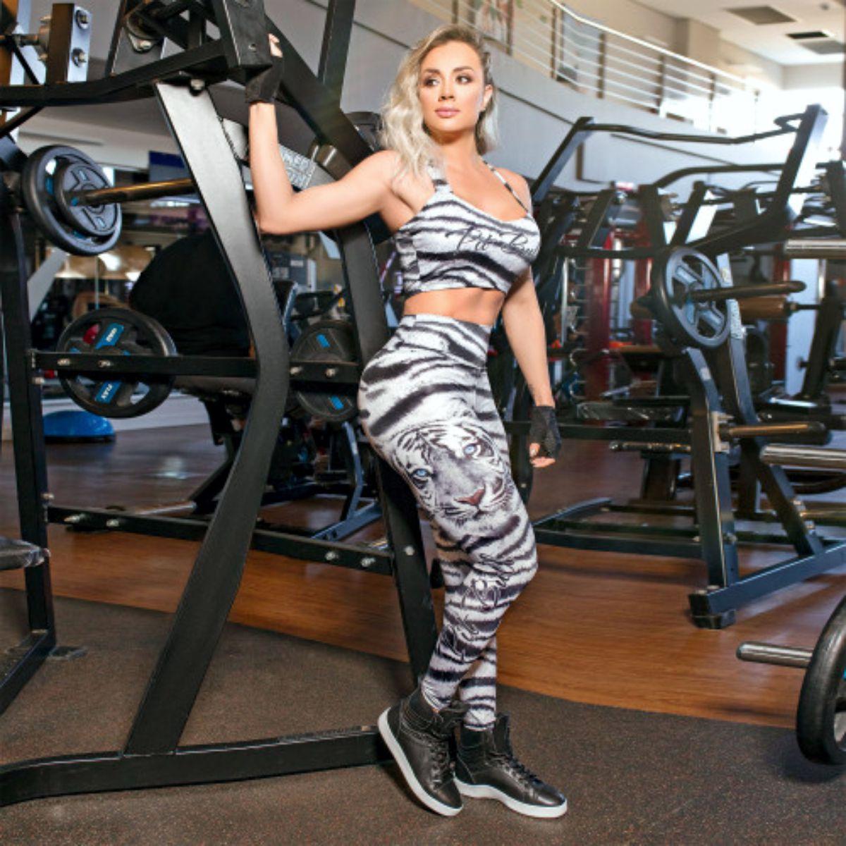 Calca Pit Bull 34320 Legging Fitness Tigre Branco