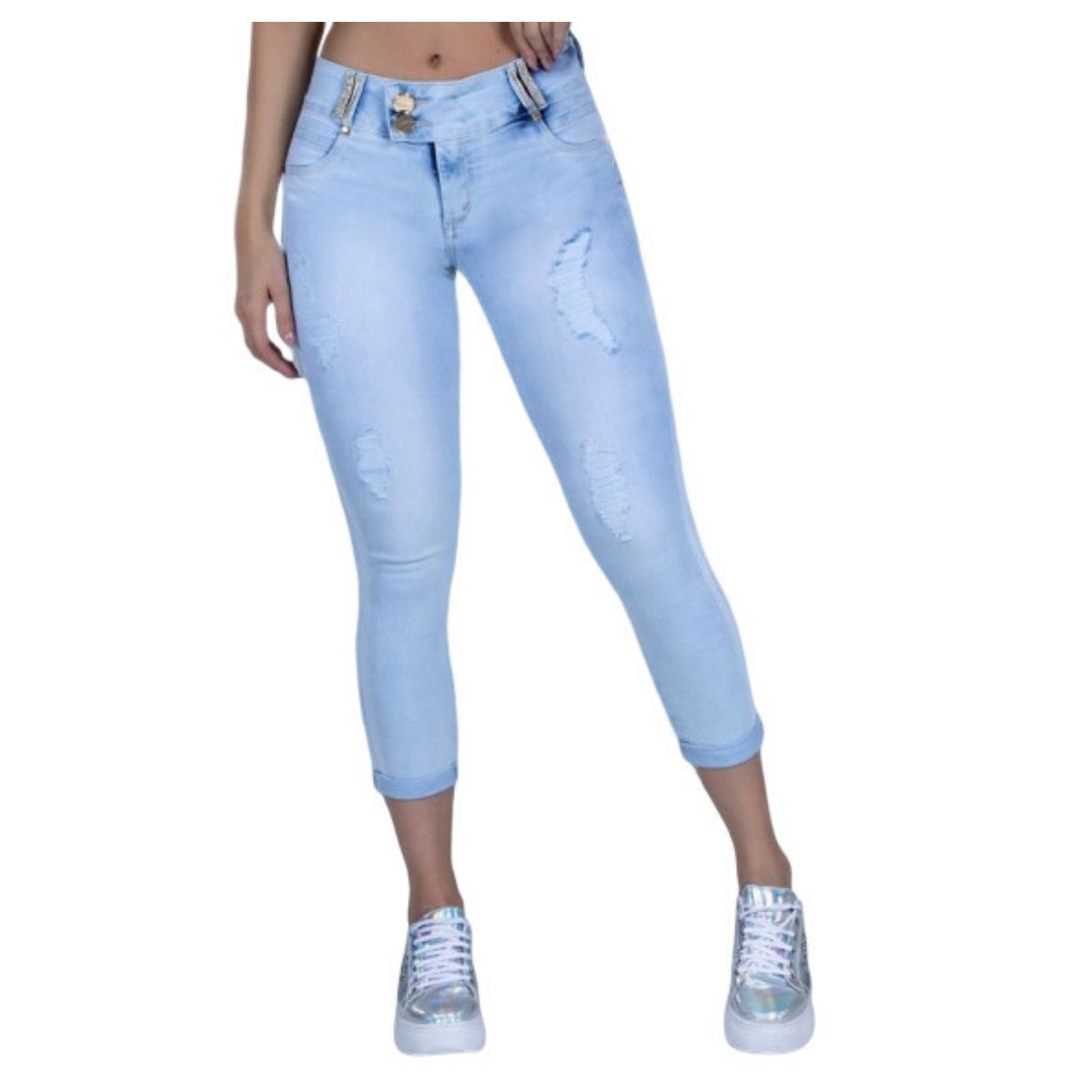Calça Pit Bull Jeans 33426 Feminina Capri de Cintura Alta