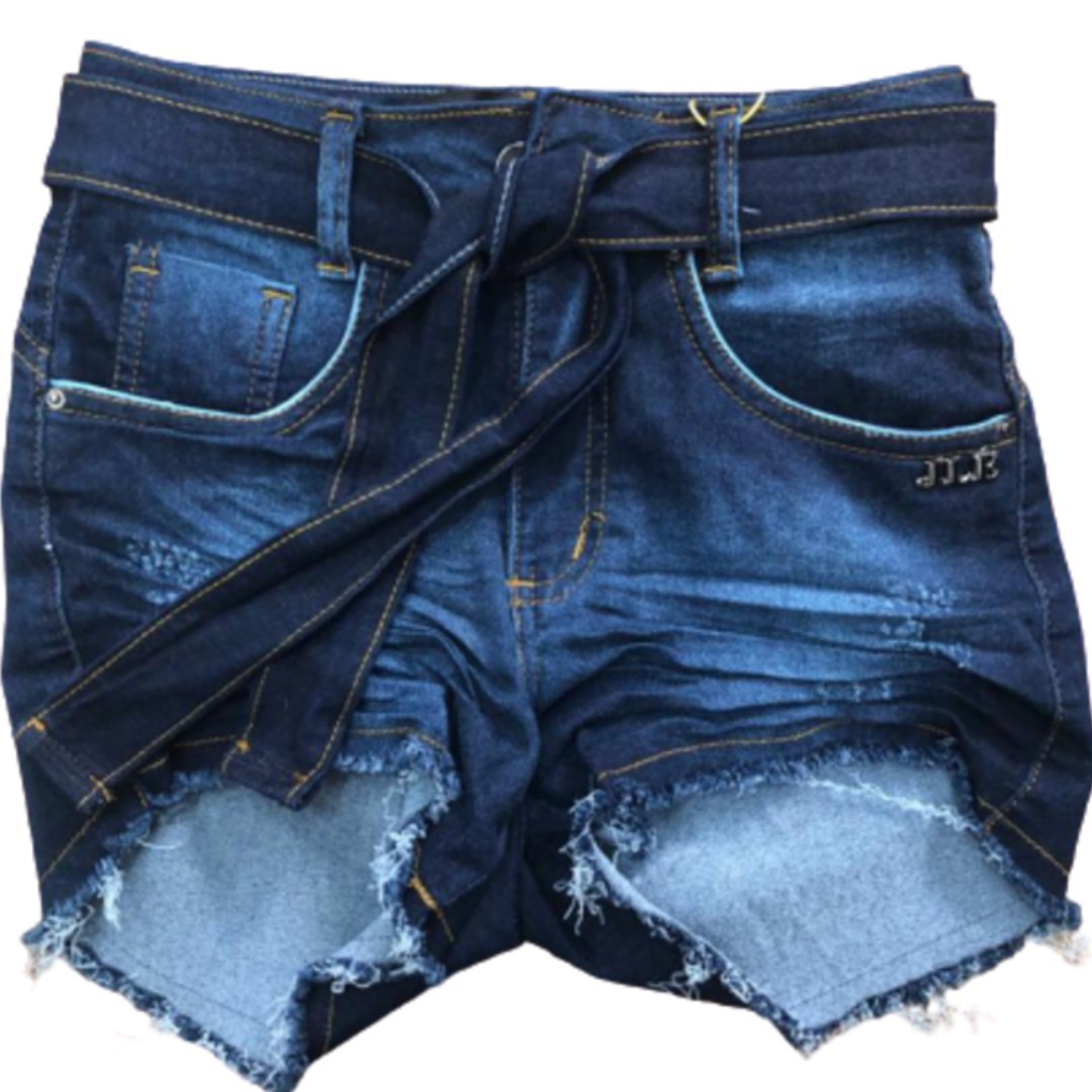 Short Jeans Escuro Cinto Tecido drapeado