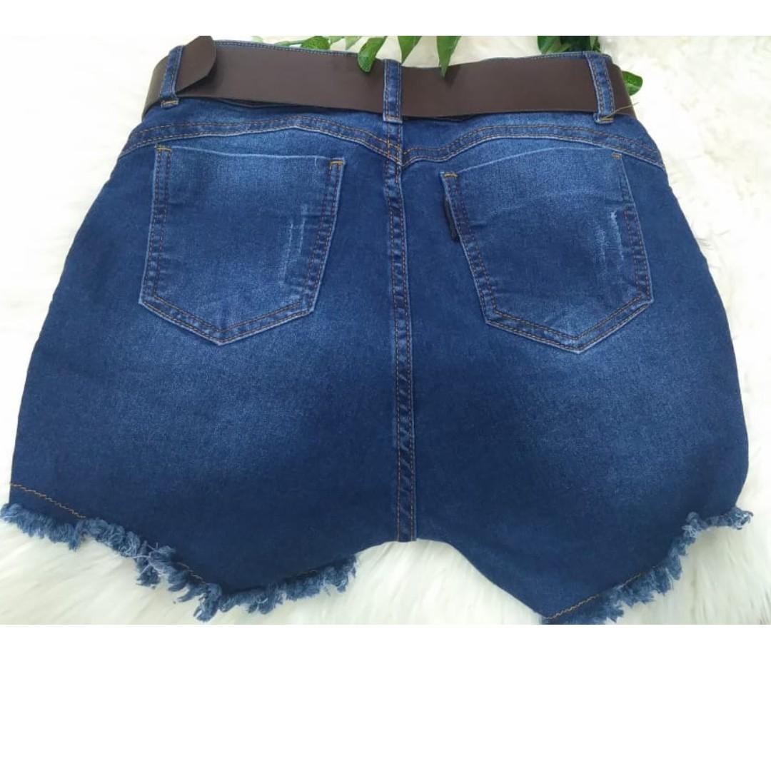 Short Jeans Escuro Spaik Graf Cinto Drapiado
