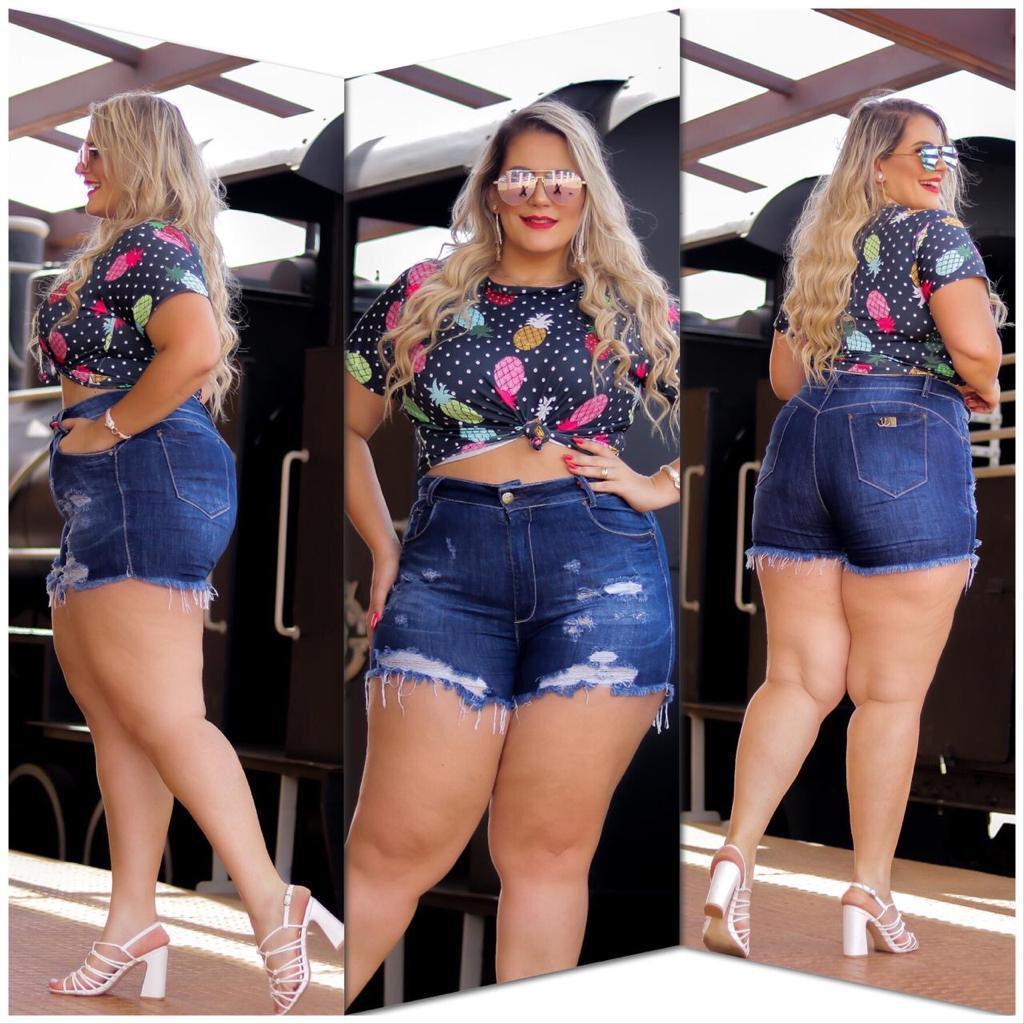 Short Plus Size Jeans Cintura Alta Dluxe