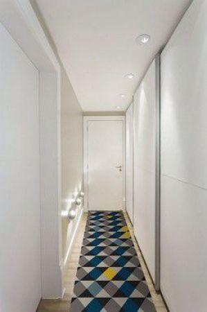Passadeira Casa Meva Geométricos Azuis 66 x 180 cm
