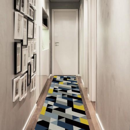 Passadeira Mosaic Azul - 66 x 240 cm