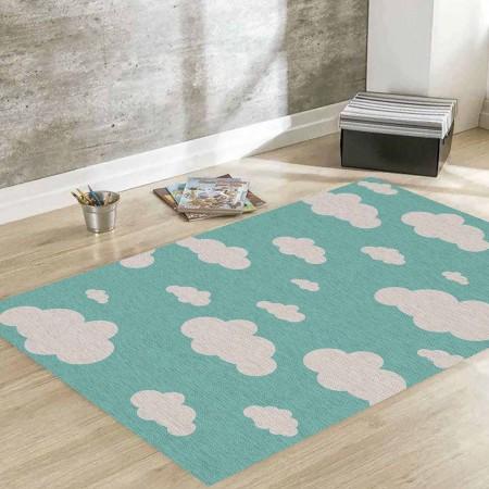 Tapete Infantil Nuvens Azul 140 x 180cm