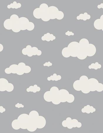 Tapete Infantil Nuvens Cinza 140 x 180 cm